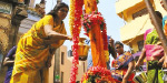Pole planted in honor of tertiruvilavai Mariamman Temple
