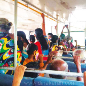 People forgetting social distortion in Vaikapuram; Risk of passengers hanging on stairway: Will additional buses be operated?