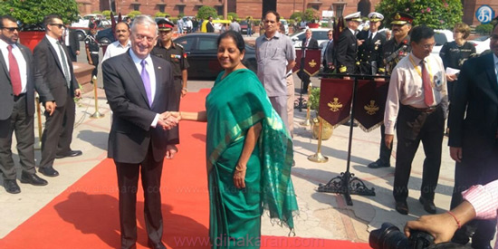 Delhi: Defence Minister NirmalaSitharaman receives US Defence Secretary JamesMattis