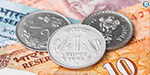 5 paise increase in the value of the Indian rupee against the dollar