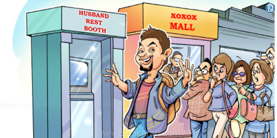 Husband Rest Booth to leave husbands when women go shopping