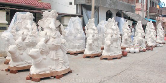 Vinayaka statues are ready for mega cycle in Chidambaram C.Moodlore