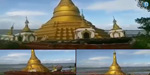 Buddhist temple that was beaten in the river in Myanmar