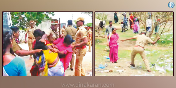 Struggle against Tasmac Shop Police baton on women