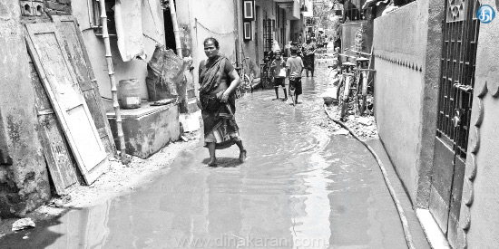 Sewage flood in Tondairpet roads The rapid spread of mysterious fever