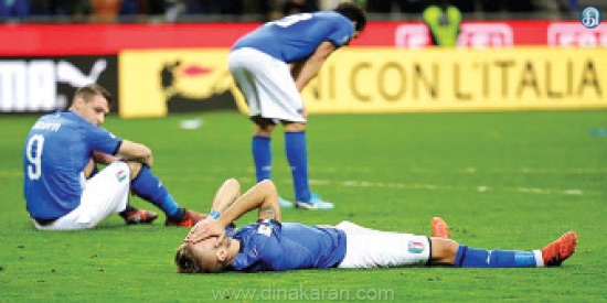 Italy failed to qualify for the FIFA World Cup football season for the first time in 60 years