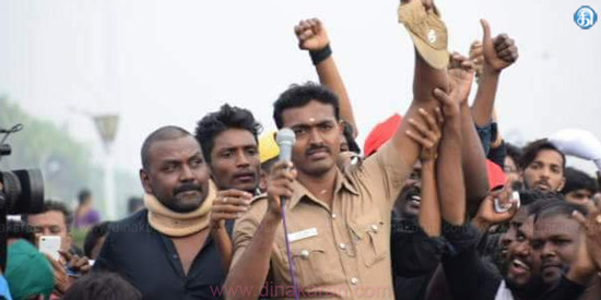 Practical action against the guards who support the Jallikattu struggle