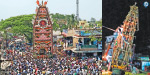 On the chariot falls off the axis of Mariamman temple: Hosur