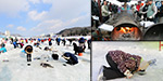 Fishing competition in the frozen river in South Korea: Tourist enthusiastic participation