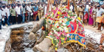 Dog was thrown in Tiruvannamalai, the temple kills the elephant in the iron barrier