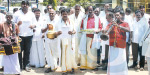 Mulanka percussion drum beating silk dhoti and shirt Kalaay collectors came to call the sensation of sand lorry owners