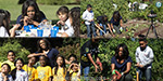 Michelle Obama is joined by elementary school children in the White House garden