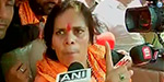 Sadhvi Prachi detained by the police outside Dadri village