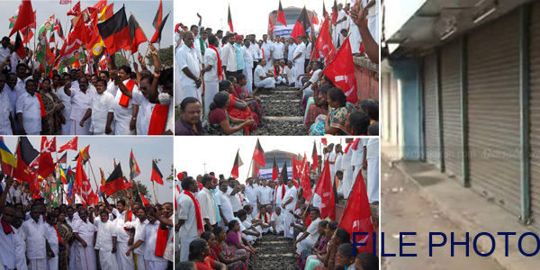 Farmers and all parties Stir in front of the train: 100 people arrested in mannargudi
