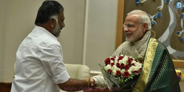 Former Chief Minister Panneerselvam meeting with Prime Minister Modi