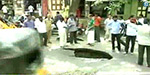 huge crater in the road in Mylapore: public shock