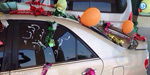 son brought his mother with adorned the car from the hospital to home