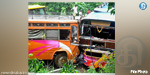 two private buses collided head-on collision in which 50 people were injured.