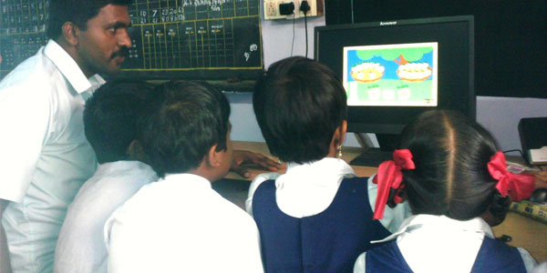 Computer classes for poor children studying in government schools that did not receive