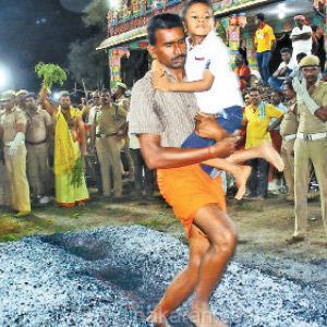 Festival at Bannari Amman Temple: Thousands of devotees were thrown out