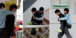 Heart-warming images of the high school student who has carried his disabled best friend to every class for 3 years