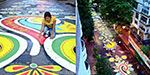 Durga Puja Celebration: Students have a record of 1.4 km long Rangoli clan in Kolkata