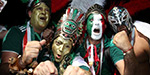 World Cup football tournament: the face painted on the sideline fans excited!