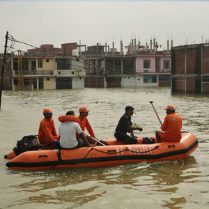 Thousands of houses floating along the river bank in Prayagraj