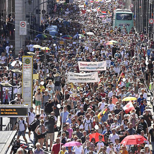 Thousands protest in Berlin against corona restrictions in Germany