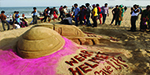 Giant sand sculpture created in an effort to remind the public that helmet is mandatory