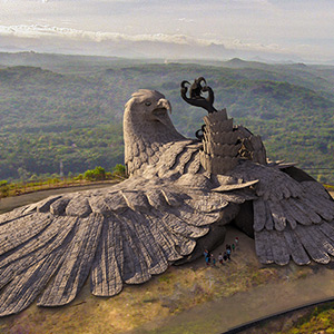 200 feet long Jatai bird with the grand statue, Bird Sanctuary: Creation in Kerala