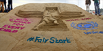 Create awareness about the plight of children in the world sand formation Marina beach