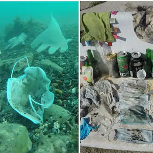 Undersea mask and gloves: Danger for marine life !!