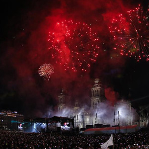 Military parade, musicals, dance performances, celebration of Independence Day in Mexico