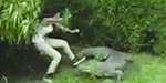 Lucky girl escaped from crocodile by narrowly avoiding its snapping jaws