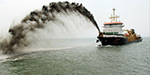 Having been contracted to build the port of Pondicherry, sea Dredged busy work