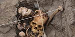 1,000-year-old skeletons in a seated position was discovered