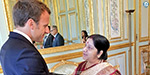 Sushma Swaraj Meets with France President: Negotiations on Bilateral Relations