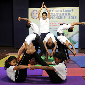 State-level Yogasana Competition in T Nagar: Students waking up with different yogas