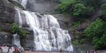 Courtallam waterfalls and deserted, the water is at least