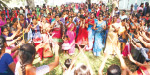 Erode vauci., Cheer girls dancing and playing in the park watching the Pongal Celebration
