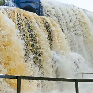 Heavy rain and flooding in virgin tirparappu Falls