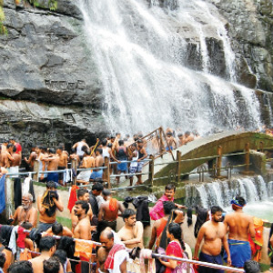 Ayyappa pilgrims and tourists gathered in Courtallam