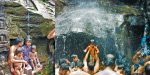 Tourists are happy to visit water in the rain forests in Courtallam