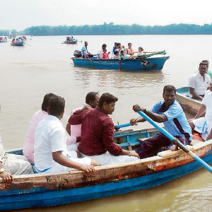 Tourists gathered at Pichavarai to ride the boat and enjoy the forest