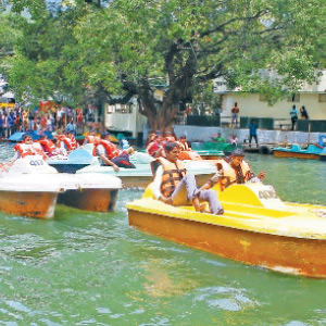 Boat Competition for Tourists in Courtallam Salaal Festival
