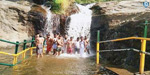 Tourists are allowed to bathe in the Kumbakarai Falls for 58 days after the water is uniform