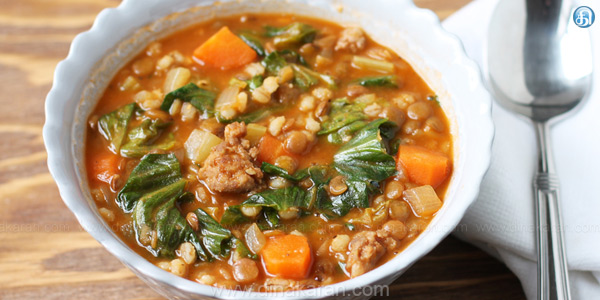 Barley soup with lentils