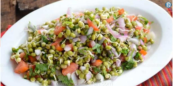 Sprouted lentil salad chickpeas